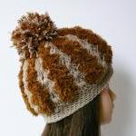 Chunky crochet hat hazel brown soft..