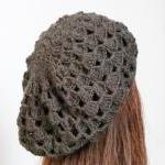 Grey crochet hat Women beret croche..