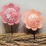 Flower bobby pin Pink hair accessor..