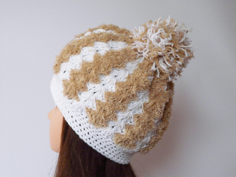 Chunky crochet hat hazel and white soft hat Pom pom hat