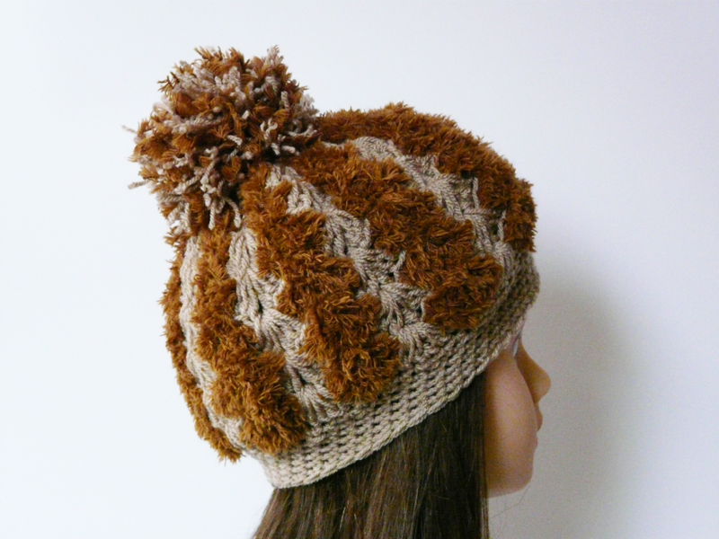 Chunky crochet hat hazel brown soft hat Pom pom hat