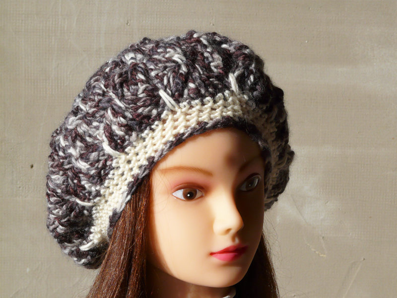 Crochet beret hat chunky slouchy beanie hat