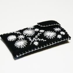 iPhone case Felt iPhone sleeve Wool Galaxy cover Black and White flowers