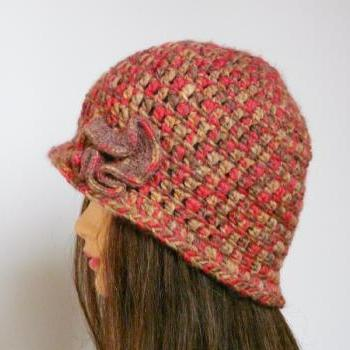 Fall crocheted hat ruffled flowers women elegant cap